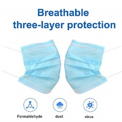 Ship From United States Disposable Mask Three-layer Mask Dust-proof Breathable Surgical Mask Blue Color High Quality Mask