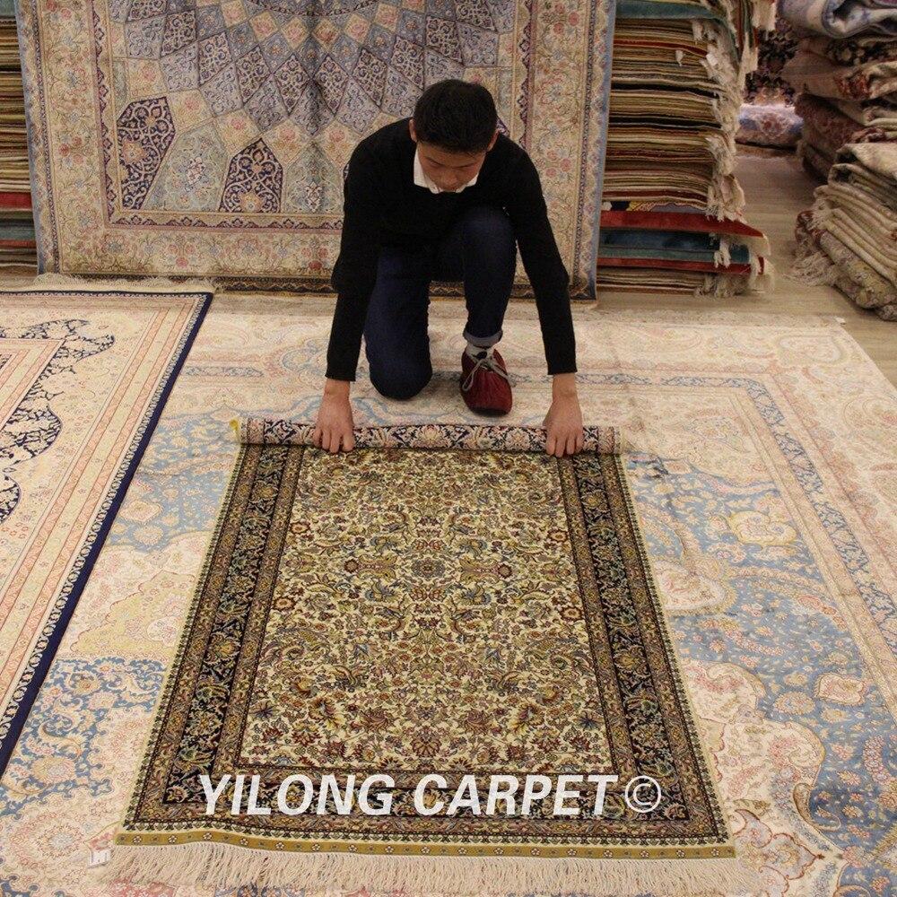 YILONG 3'x5 'Antique tapis de soie orientale beige exquis tapis de soie fait main (LH106A3x5)