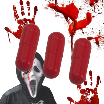 3pcs Fake Blood Pill Vampire Capsules Horror Funny Popular Halloween Prank Trick Trick Adult Blood Pill Toy Fake Blood Pills image