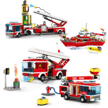 Fire Fighting Trucks Series Building Block Rescue Trucks Car Boat City Firefighter figures police educational toys for children 348pcs fire fighting 4in1 trucks car helicopter boat building blocks compatible lepining city firefighter figures children toys