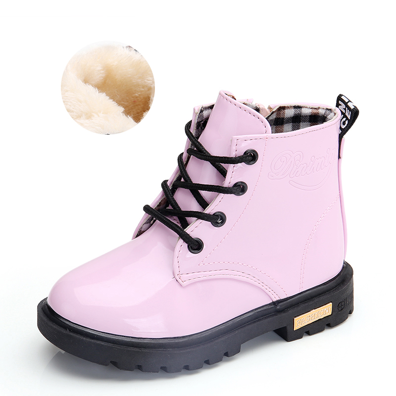 2020 New Winter Children Shoes PU Leather Waterproof Martin Boots Kids Snow Boots Brand Girls Boys Rubber Boots Fashion Sneakers 2