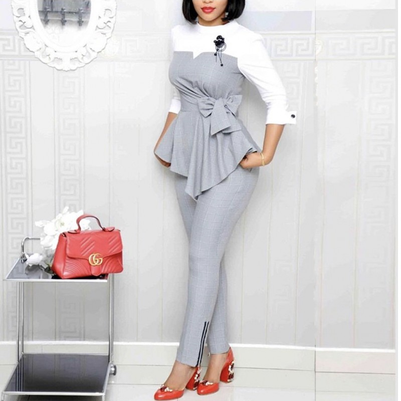 2 Piece Sets Africa Clothing Women Plus Size Pant Suits Ladies Business Office Tops+pants Suits  African Set For Ladies