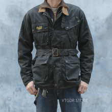 NON STOCK Trialmaster Waxed Jacket Vintage Motorcycle Racing McQueen Coat Black
