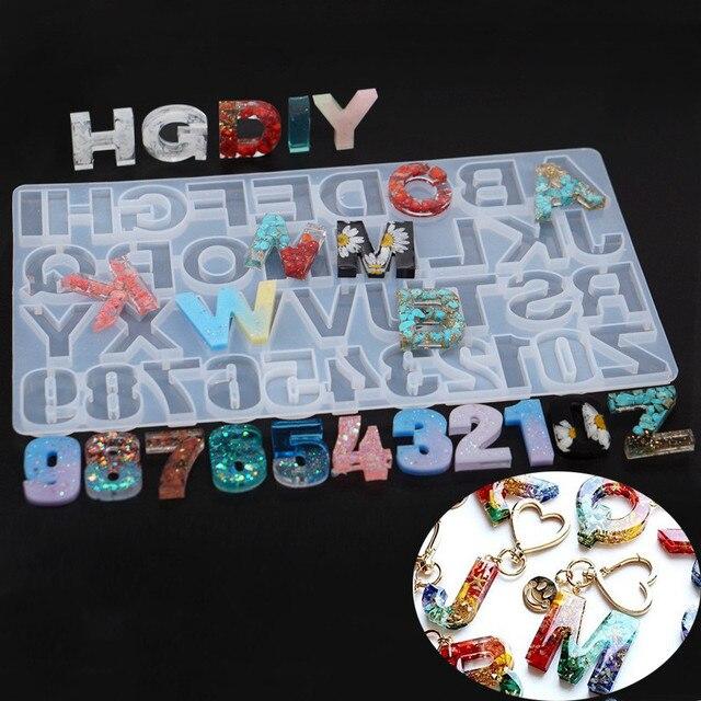 Snasan 1 pc molde de silicone tamanho grande letras número resina silicone molde pingente artesanal diy jóias fazendo ferramenta resina cola epoxy