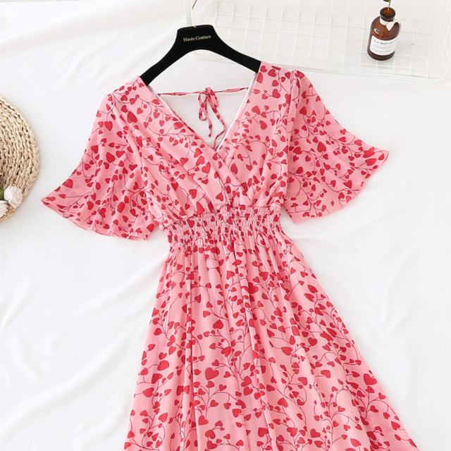 Summer Fairy Dress Women French Style Vintage Retro Chiffon Dress Short sleeve Casual Elegant Floral Print Dress Women 2021 New 5