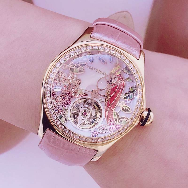 ╛Free ShipTourbillon-Watch Watches Strap Diamond Womens Tiger/rt Automatic Luxury Feminino RGA7105