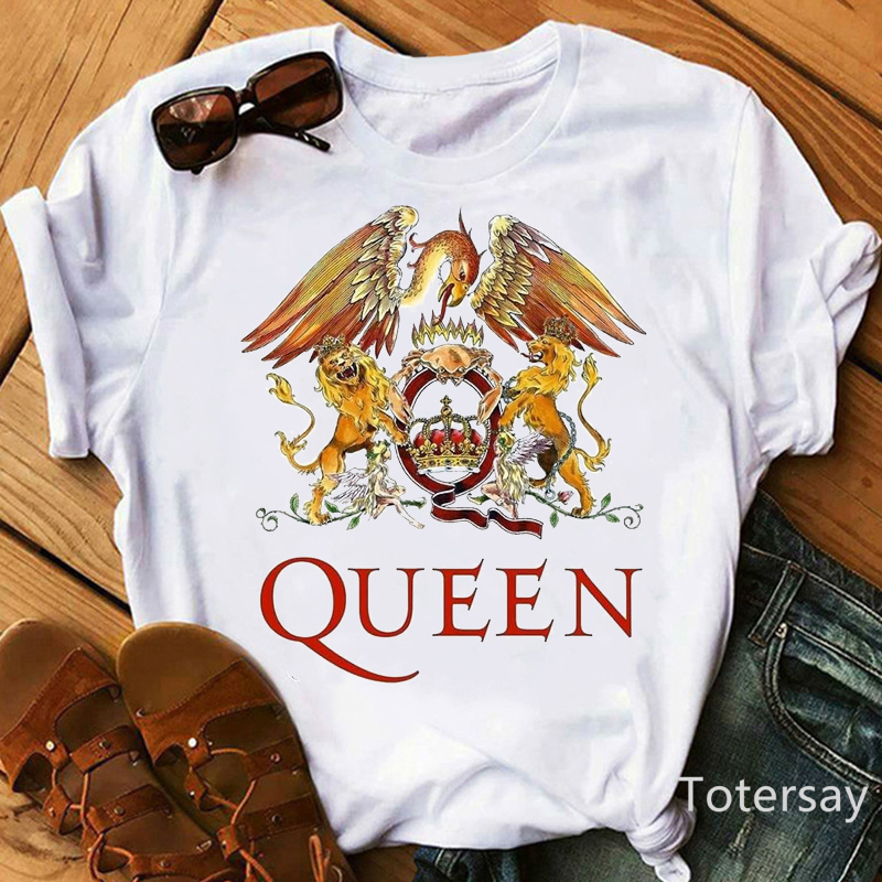 Футболка Freddie Mercury женская, рубашка с принтом Queen Band, Топ в стиле Харадзюку, уличная одежда