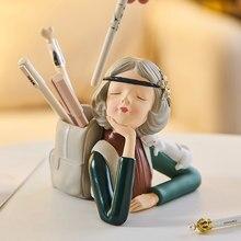 Bubble Girl portapenne cancelleria resina personaggio scultura decorazioni per la casa moderne sala studio camera da letto per bambini decorazione Desktop