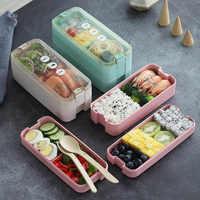 Nueva caja de almuerzo de paja de trigo de 800 ml/1100 ml, caja de almuerzo de Material saludable Bento, caja de almacenamiento de alimentos de gran capacidad para microondas