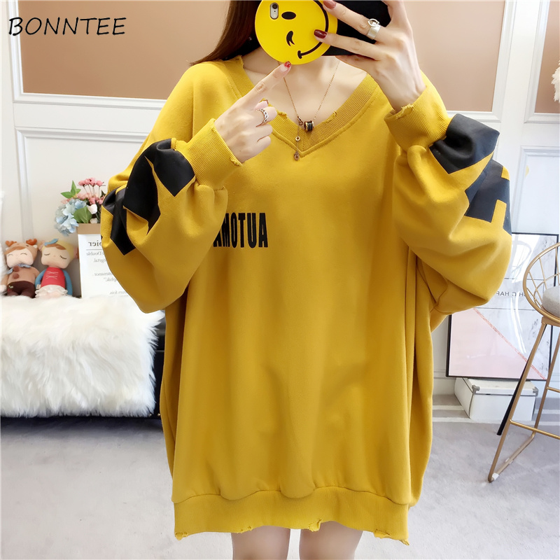 Hoodies Women 2020 Thin Loose Letter Printed Oversize O-Neck Harajuku Kpop Korean Sweatshirts Womens Ulzzang Simple Pullovers