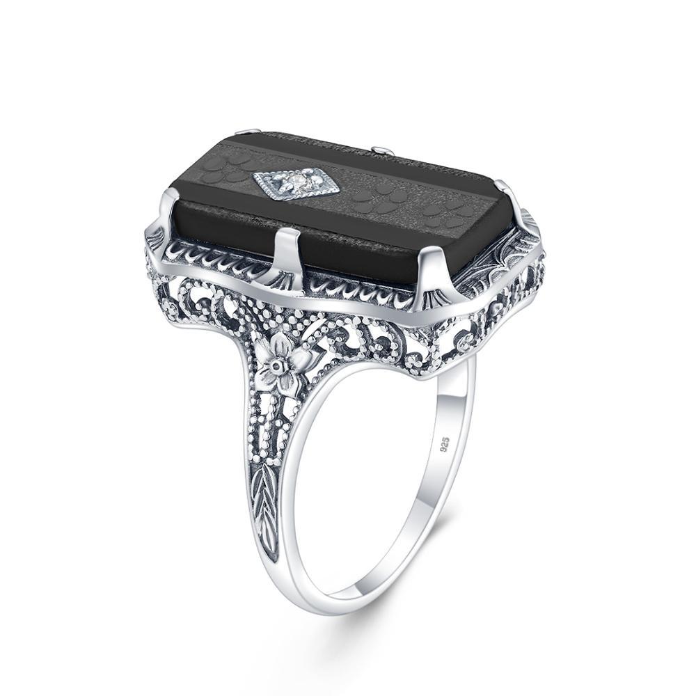 Szjinao réel bague en argent Sterling femmes argent 925 anneau de coq dames de luxe non défini rétro noir Onyx Gmstone sorcière bijoux 2020