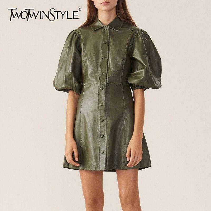 TWOTWINSTYLE PU   Leather   Dress For Women Lapel Collar Puff Sleeve High Waist Mini Dresses Female 2019 Autumn Big Size Fashion New