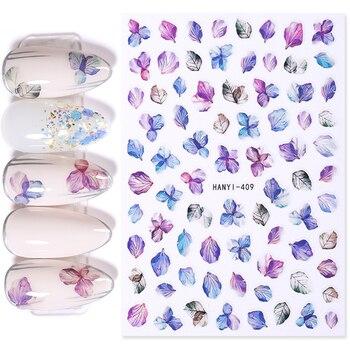 Flower Series Nail Water Decal Stickers Sakura Daisy Lavender Floral Pattern Transfer Sticker  Nail Art Decoration 11