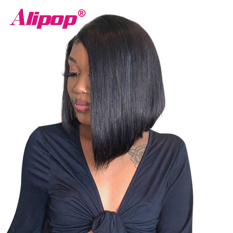Alipop 13x6 Glueless Bob Wig Brazilian Straight Short Human Hair Bob Wigs 150% Density Remy Swiss Lace Front Wig With Baby Hair