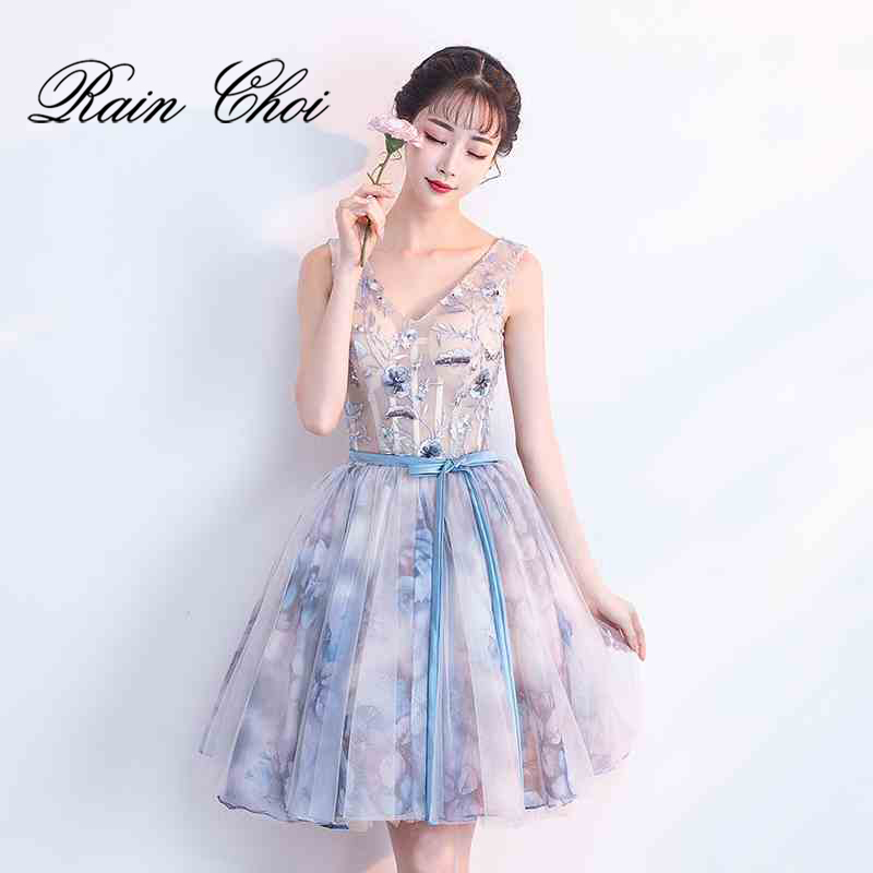 Short Cocktail Dresses 2019 Floral Printed Women Formal Prom Party Gown Cocktail Dress