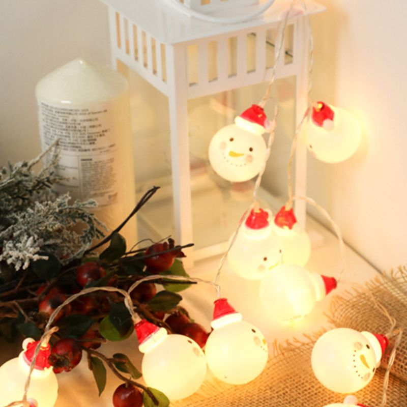 Battery Powered Snowman Light Strings Christmas Lamps For Garden Patio Indoor And Outdoor Decor   634E