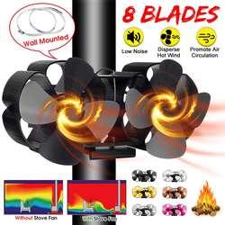 Estufa de calor con ventilador komin de doble cabezal con 8 aspas, quemador de madera, ventilador silencioso respetuoso con el medio ambiente, distribución eficiente del calor en el hogar
