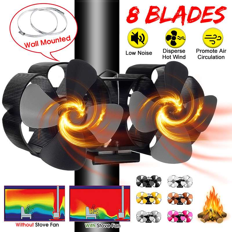 Mouted Dual Head 8 Blade Heat Powered Stove Fan Komin Log Wood Burner Eco Friendly Quiet Fan Home Efficient Heat Distribution