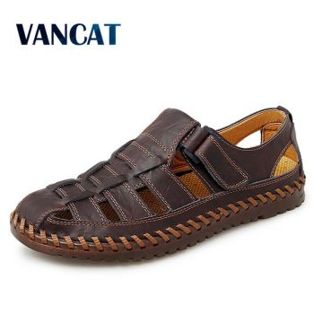 Brand Summer Genuine Leather Roman Men's Sandals Business Casual Shoes Outdoor Beach Wading Slippers Men's Shoes Big Size 39-48