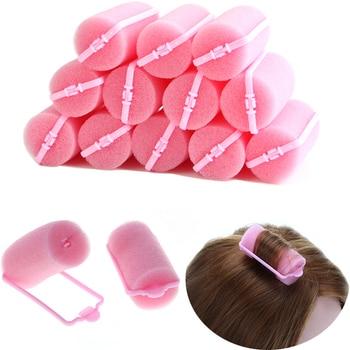 12 pièces/ensemble rose doux éponge mousse coussin bigoudis bigoudis Salon barbier bricolage boucles trousse à outils de coiffure