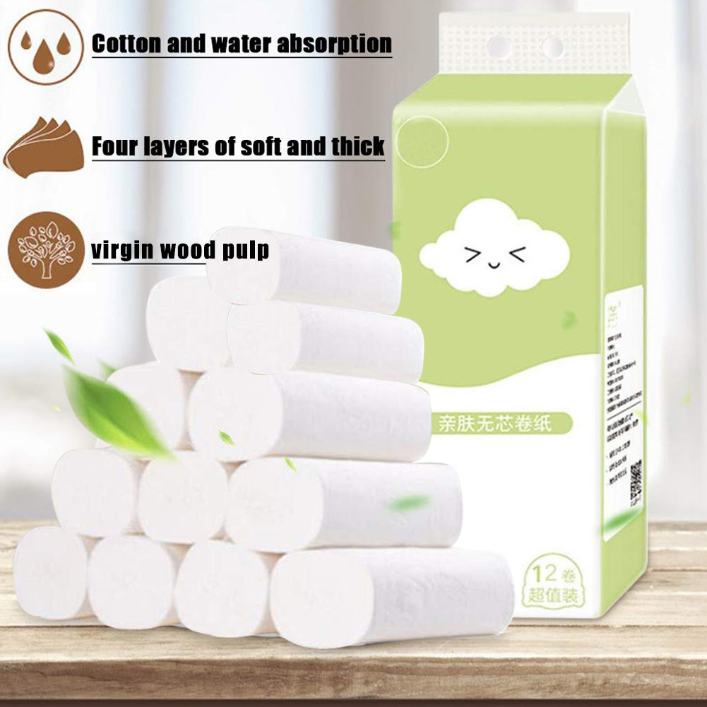12 Roll Disposable Toilet Paper Roll Soft Printed Bathroom Tissue Coreless White 4-Ply Paper Towels FS99