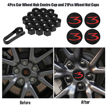 4 шт. Крышка для ступицы колеса автомобиля и 21 шт. блестящий черный колпачок для гайки колеса s Запчасти для Tesla модель 3