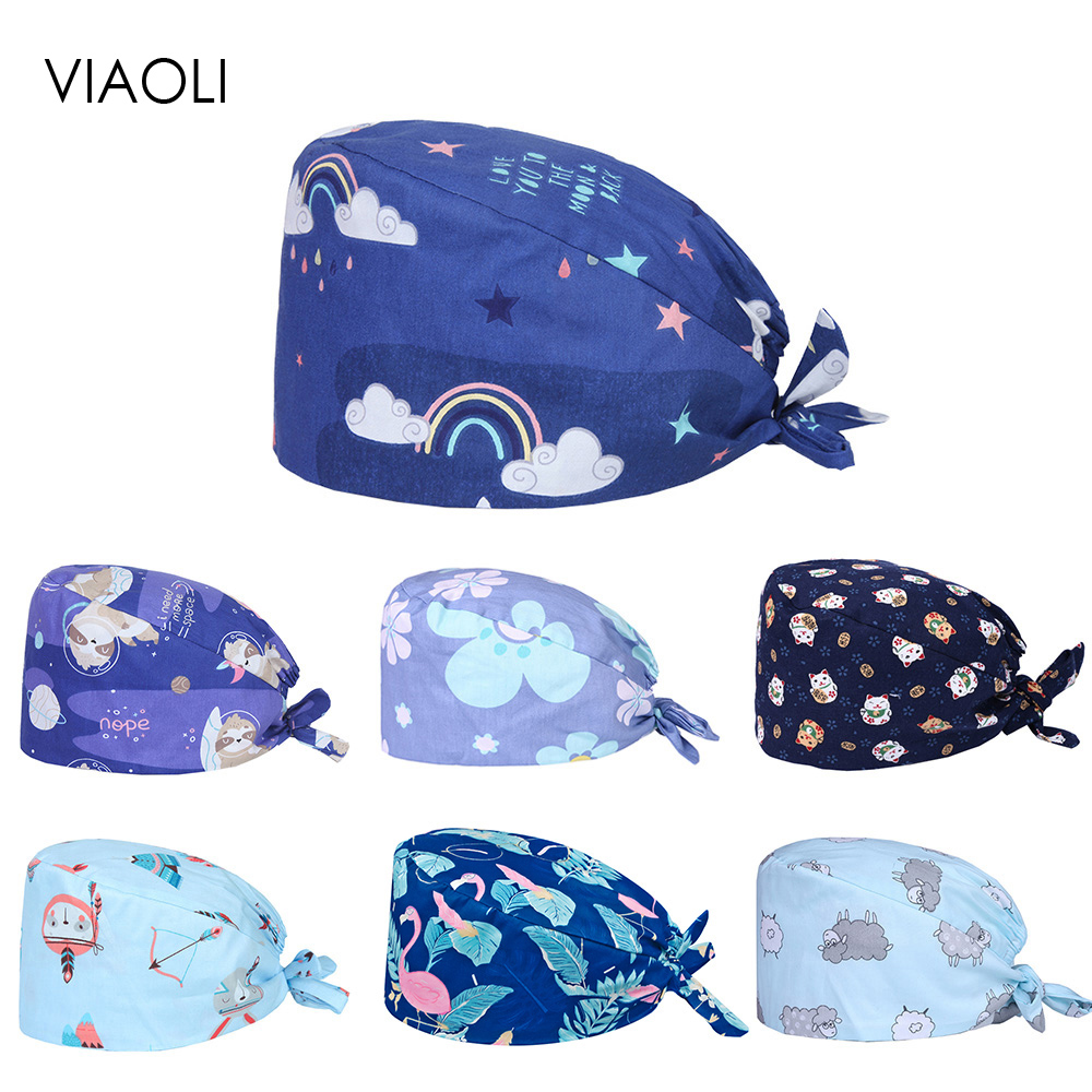 Viaoli New Medical Surgical Scrub Caps Breathable Cotton Adjustable Printing Blue Pharmacy Dentist Pet Doctor Men And Women Hats