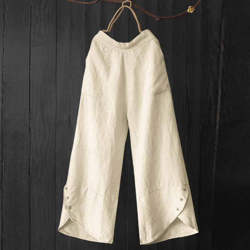 2019 Vintage Women Elastic Waist Wide Leg Pants Autumn Long Trousers Female Pockets Solid Cotton Linen Harem Pant Retro Pantalon