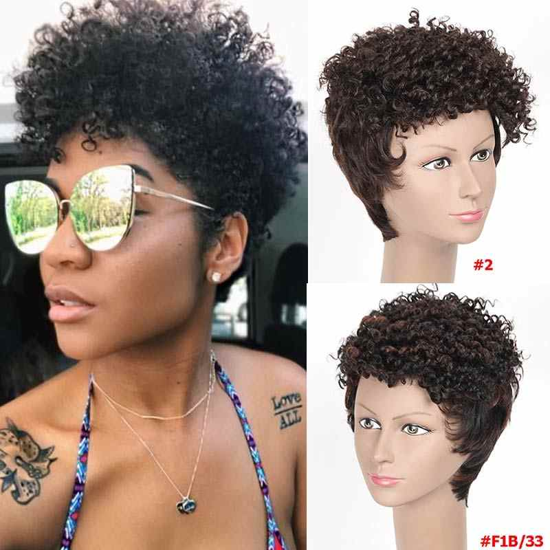 Rebecca pixie cut wigs For Black Women Cheap Wholesale Short Hair Wigs 100% Human Hair Natural Hair Afro Curly Straigh Bob