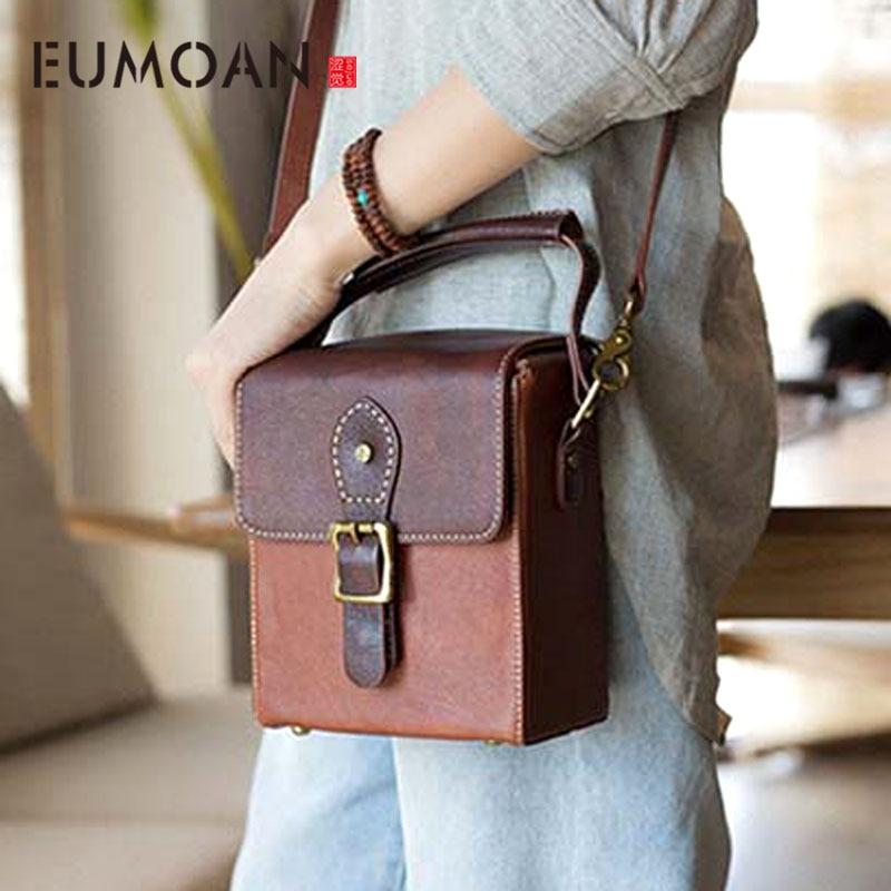 2018 new leather original manual shoulder bag simple retro art genuine Messenger