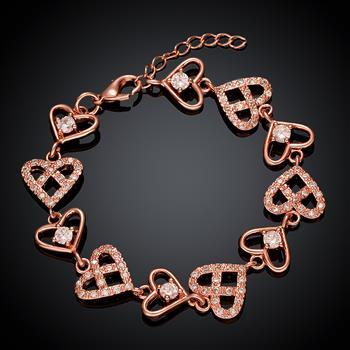 Fashion Rose Gold Heart Charm Bracelet Charm Bracelets Jewelry for Women Couple Bracelet Luxury Jewelry Gift 2021 B007-B image