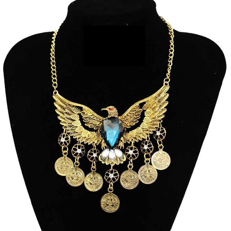 2019 Fashion Choker Collar Bohemian Eagle Maxi Pendant Necklace Ethnic Vintage Statement Tassel Coin Necklace For Women Jewelry in Choker Necklaces from Jewelry Accessories