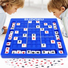 this image shows the large blue sudoku set being played by two young children.