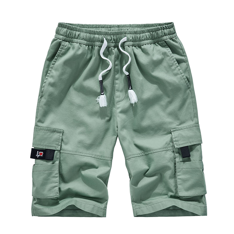 Casual Shorts Drawstring Elastic-Waist Knee-Length Breathable Multi-Pocket Plus-Size