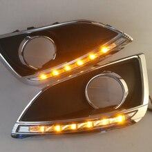 سيارة وامض 1 زوج سيارة ضوء لشركة هيونداي IX35 2010   2013 LED ضوء الجري النهاري دي أر إل ضوء النهار الأصفر بدوره إشارة الضباب مصباح