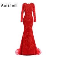 New Fashion Red Evening Dresses Mermaid Beaded Appliques Elegant Long Sleeve Formal Dress Women Arabic Evening Gowns