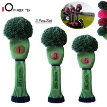 3 Pcs/Set Driver Fairway Hybrid Knit Golf Head Cover Pom Woods Headcovers Black Blue Green Pink for Men Women