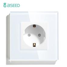 BSEED EU Wall Socket 3 Colors White Black Golden Single Glass Crystal Panel Electrical Outlet 16A 110V - 240V Socket