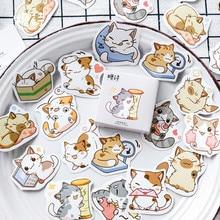 Stickers Stationery Scrapbooking Papelaria Kawaii Cartoon Pet Animal Cat 45pcs/Box