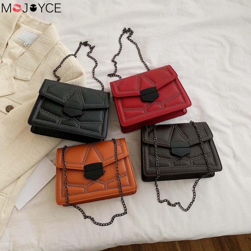 Casual Women Messenger Bag Leather Rivet Chain Shoulder Crossbody Handbag Ladise Fashion PU Crossbody Bag Sac Main Femme
