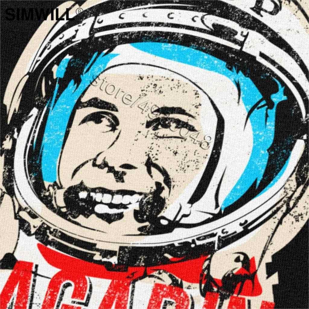 Vintage Rusia Astronot T Shirt Pria Pro Kitty Yuri Gagarin T-shirt Lengan Pendek Uni Soviet Kosmonot Grafis Grosir Pakaian Hadiah