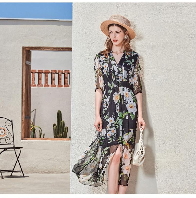 New Women Printed Dress 100% Silk Crepe V Neck Mulberry Silk Dresses 2021 Spring Summer Dress