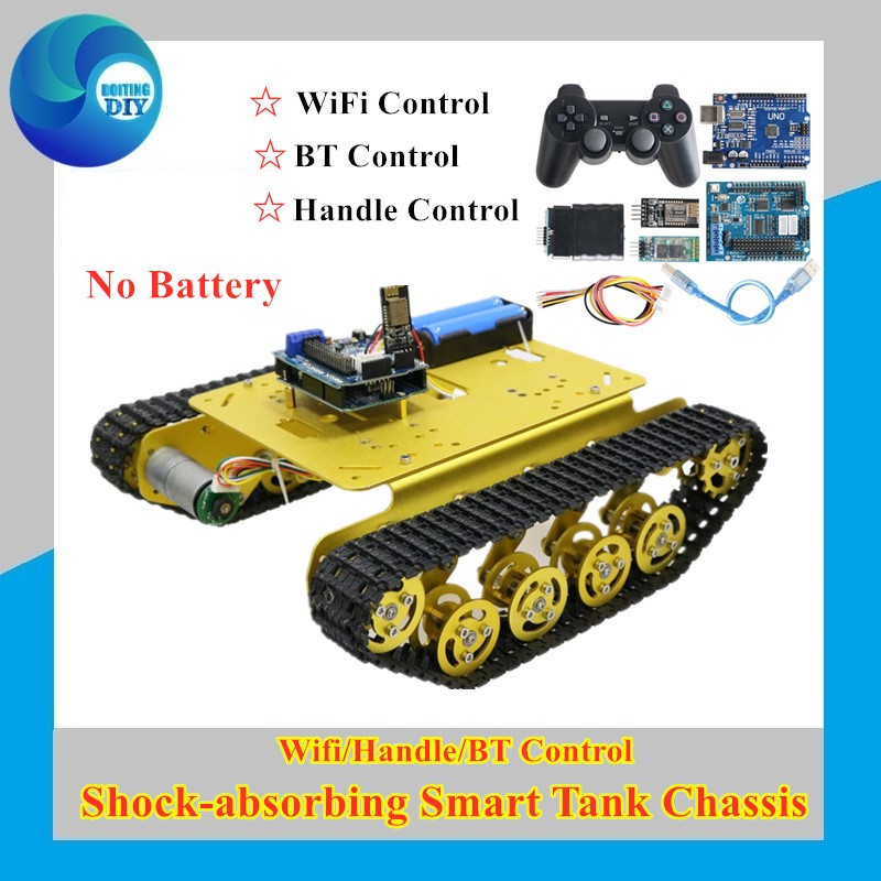 <font><b>TS100</b></font> Wifi/Handle/Bluetooth RC Control Robot <font><b>Tank</b></font> Chassis Car Kit for Arduino with UNO R3, 4 Road Motor Driver Board,WiFi Module image