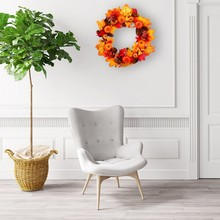 Natural Artificial Flower Wreath Pumpkin 45cm Halloween Round For The Front Door Home Decoration