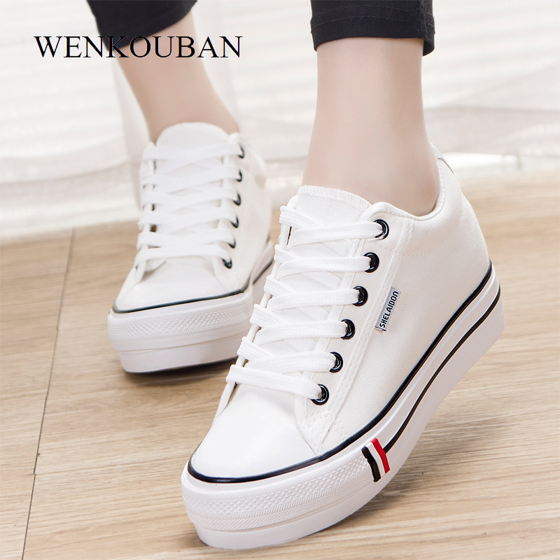 Women Platform Sneakers Fashion Canvas Shoes Women Wedge Casual Shoes Breathable Female Trainers Summer Tenis Feminino 2020