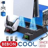 Soporte de ventilador de refrigeración Vertical para PS5, cargador doble para mandos, estación de carga LED rápida para Sony Playstation 5