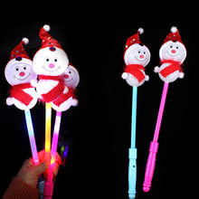 Christmas Light Up Sticks Cute Snowman LED Flashing Wand Gift Party Supplies for Kids Children Luminous Toys(China)