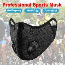 ספורט מסכת לשימוש חוזר מסכת מגן מסכת אבק הוכחה PM 2.5 רחיץ הופעל עם מסנן פחמן מסכת יוניסקס רכיבה