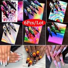 Modelones 6Pcs/Lot Laser Silver Nail Art Sticker Set Holographic Flame Decals Foil Strip Tape