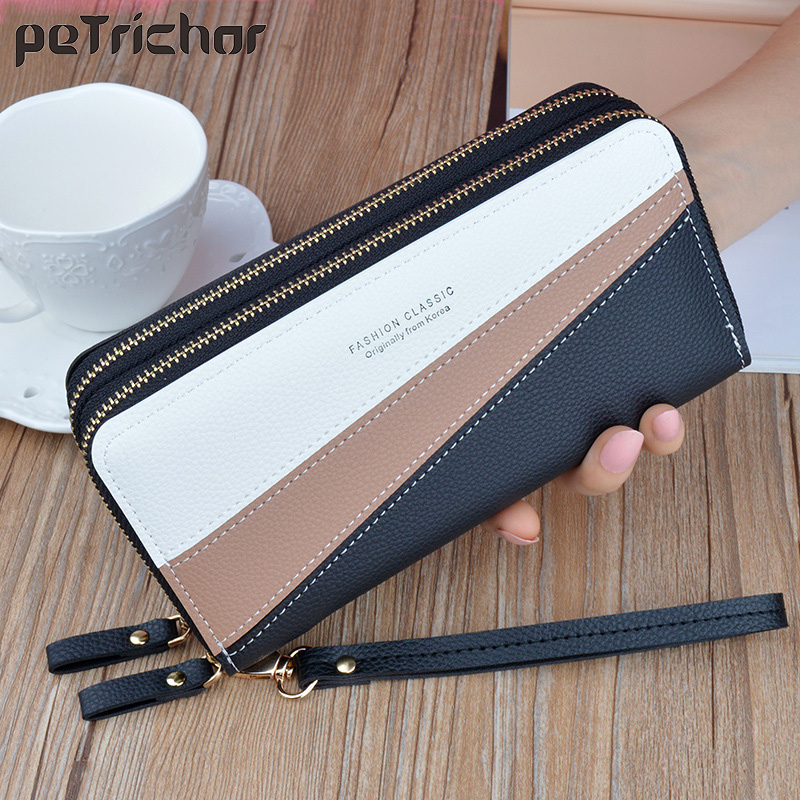 Wristband Phone Purses Women Wallets Splice Female Purse Leather Ladies Long Woman Wallets Big Card Holder Clutch Double Zipper